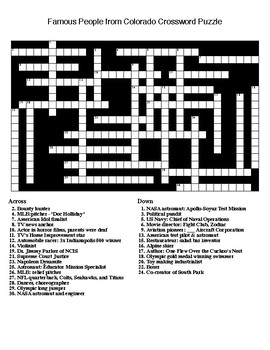 Famous People from Colorado Crossword & Word Search