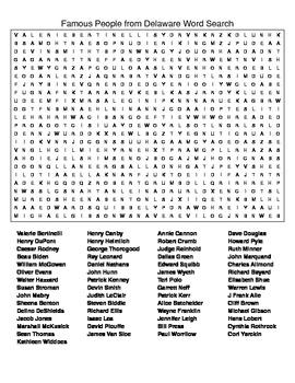 Famous People from Delaware Crossword & Word Search w/KEYS
