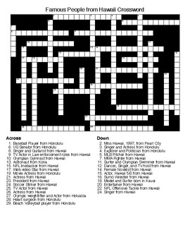 Famous People from Hawaii Crossword & Word Search with KEYS