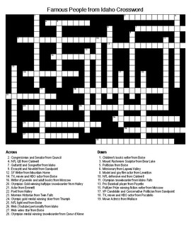 Famous People from Idaho Crossword & Word Search with KEYS