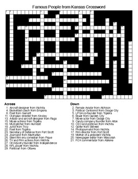 Famous People from Kansas Crossword & Word Search with KEYS