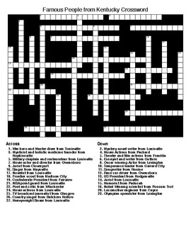 Famous People from Kentucky Crossword & Word Search with KEYS