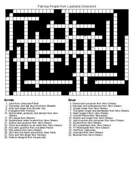 Famous People from Louisiana Crossword & Word Search wKEYS