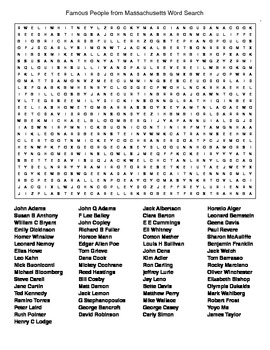 Famous People from Massachusetts Crossword&Word Search