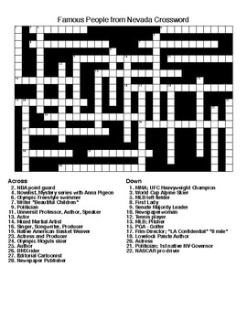 Famous People from Nevada Crossword & Word Search w/KEYS