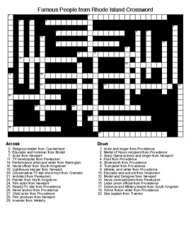 Famous People from Rhode Island Crossword & Word Search