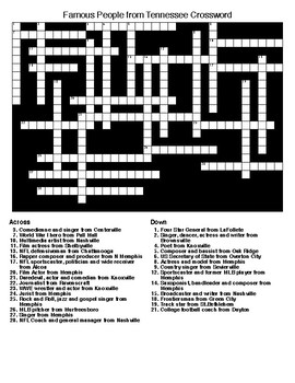 Famous People from Tennessee Crossword & Word Search wKEYs