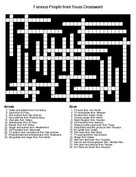 Famous People from Texas Crossword & Word Search with KEYs