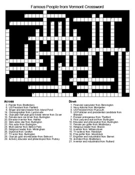 Famous People from Vermont Crossword & Word Search wKEYs