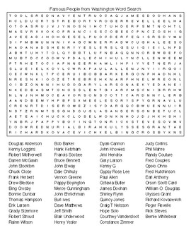 Famous People from Washington Crossword & Word Search wKEYS
