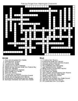 Famous People from Washington Crossword & Word Search wKEYS