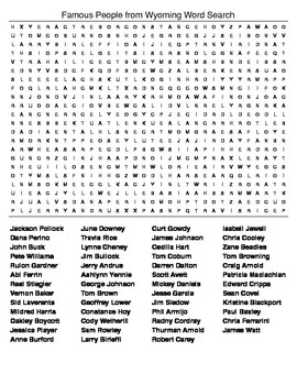 Famous People from Wyoming Crossword & Word Search w/KEYS