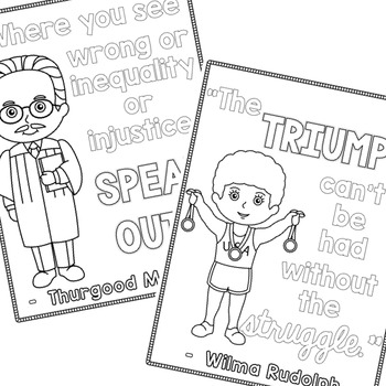 Famous People in Black History Coloring Pages with Quotes