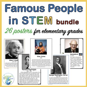 Famous People in the Area of STEM Posters for Elementary Grades