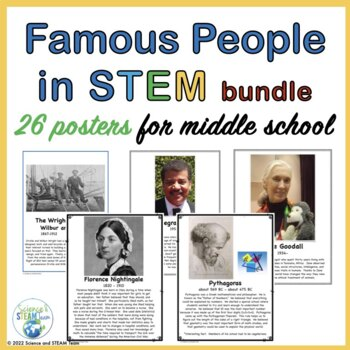 Famous People in the Area of STEM Posters for Middle School