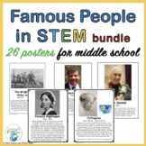 Famous People in the Area of STEM Posters for Middle School BUNDLE