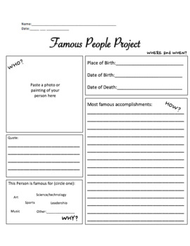 Famous Person Project Worksheet