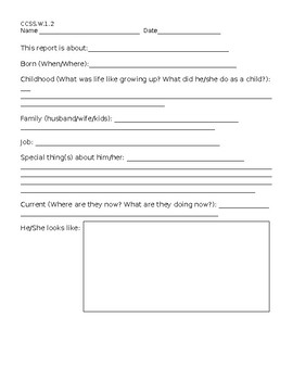 Famous Person Research Report Form