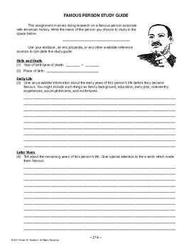 Famous Person Study Guide, AMERICAN HISTORY LESSON 27 of 100, Research Project