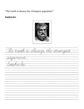 Famous Quotes Handwriting and Penmanship Practice