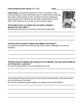 Famous Quotes Of Cesar Chavez And Brief Biography Worksheet Distance Learning