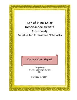 Set of 9 Color Famous Renaissance Artwork Flash Card Set