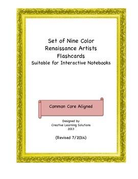 Set of 9 Color Famous Renaissance Artwork Flash Card Set