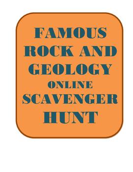 Famous Rock Geology ONLINE Scavenger Hunt-Intro, enrichment, center, extra