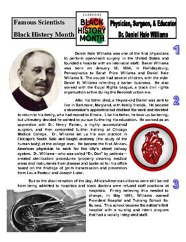 Famous Scientist - Dr. Daniel Williams (article/questions, Black History Month)