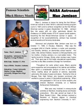 Famous Scientist - Mae Jemison (article/questions - Black History Month)