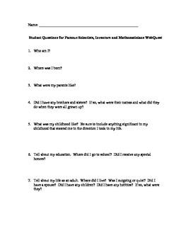 Famous Scientist Project Student Questions