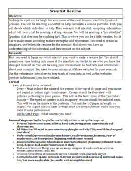 Famous Scientist Resume Research Project