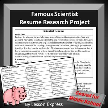 Science Sub Plans: Scientist Resume Research Project