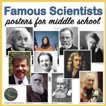 Famous Scientists Bulletin Board Posters for Middle School