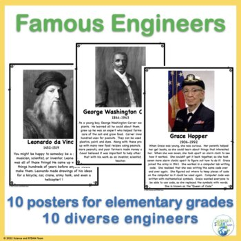 Famous Engineer and Inventor Posters for Elementary Grades
