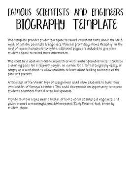 Famous Scientists & Engineers Biography Template