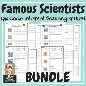 Famous Scientists - All 4 QR CODE scavenger hunts BUNDLE!