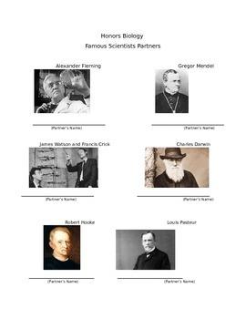 Famous Scientists Science Class Partner Sheet
