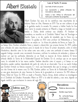 Famous Scientists Spanish Close Reading By Spanish Studio Tpt