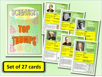 Famous Scientists Top Trumps Card Game set of 27 PUB Science Lessons