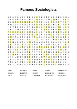 Famous Sociologists Wordsearch Puzzle