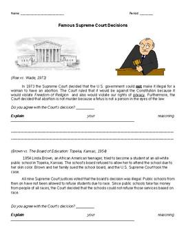 Famous Supreme Court Decisions Activity