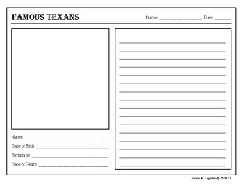Famous Texans (Biography Template)