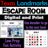 Famous Texas Landmarks Escape Room Geography Alamo, National Parks, Canyons etc.