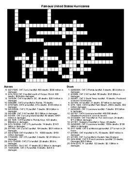 Famous US Hurricanes Crossword and Word Search bundle