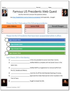 Famous US Presidents Webquest Scavenger Hunt Common Core Activity