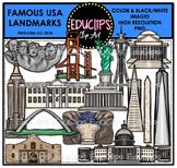 Famous USA Landmarks Clip Art Bundle {Educlips Clipart}