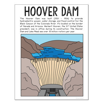 Famous USA Landmarks Poster Set with Informational Text, {Set of 15}