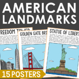 Famous USA Landmarks Poster Set with Informational Text, {
