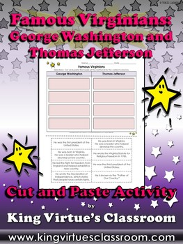 Famous Virginians: George Washington and Thomas Jefferson Cut and Paste Activity